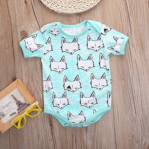 Aqua Fox Onesie | Trendy Cheap Baby Clothes Online