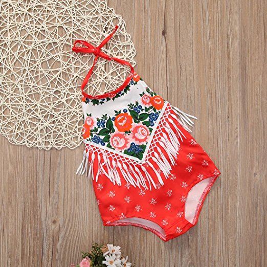 Bandana Fringe Romper | Trendy Cheap Baby Clothes Online