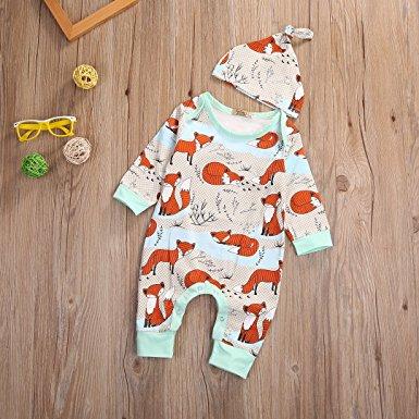 mint orange fox romper | trendy cheap baby clothes online