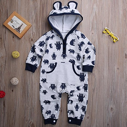 monster ear hoodie romper | Trendy Cheap Baby Clothes Online