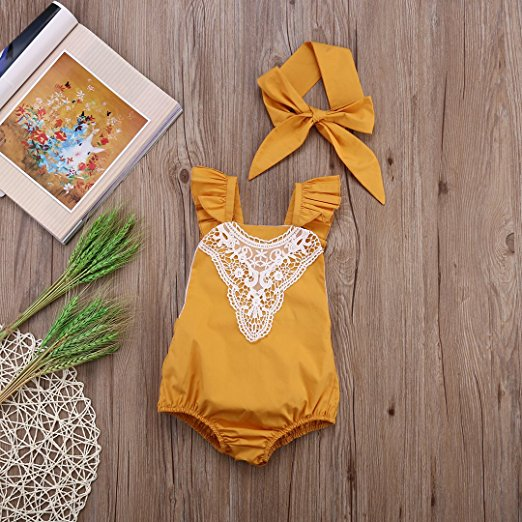mustard lace romper | Trendy Cheap Baby Clothes Online