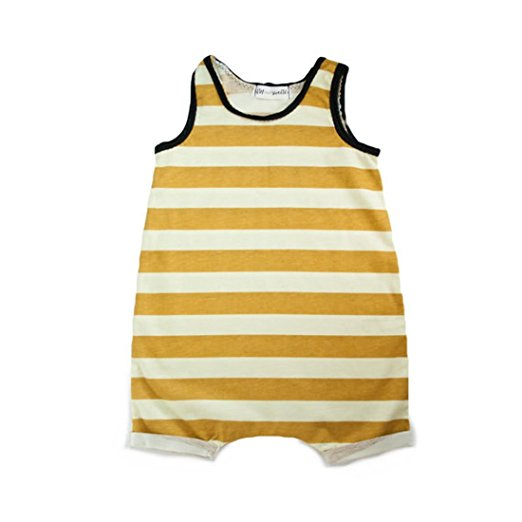 mustard stripe romper | cheap baby clothes online | Amazon