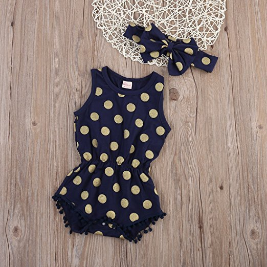 navy dot romper | Trendy Cheap Baby Clothes Online