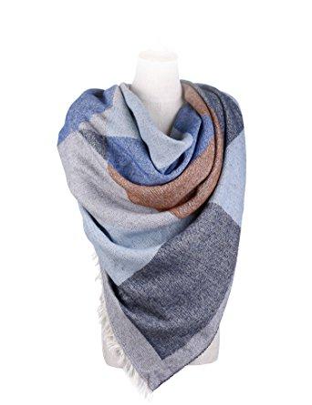 blue plaid blanket scarf
