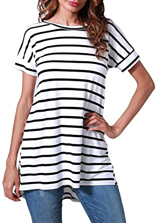 bw striped cheap tunic top