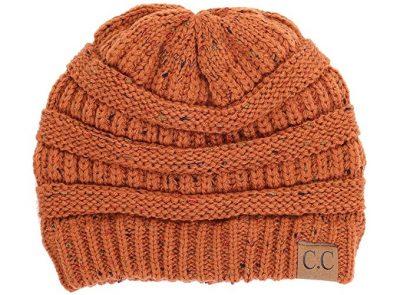 coral knit beanie