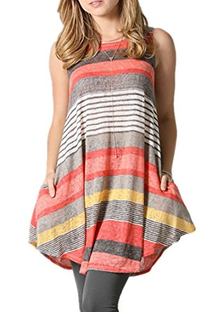 coral striped cheap tunic top