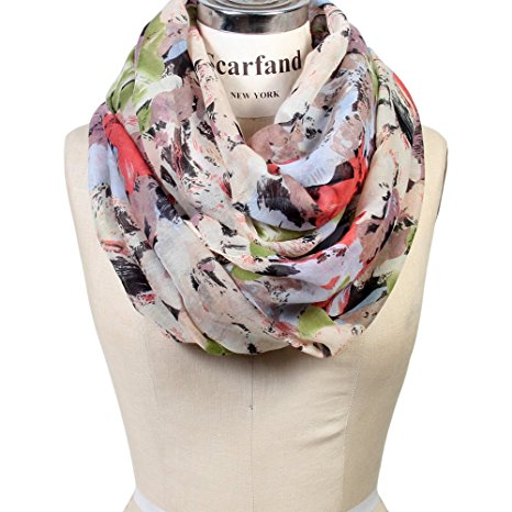 cream floral infinity scarf