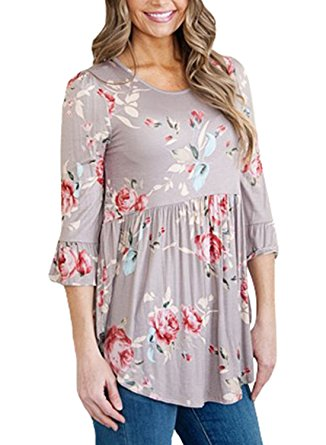 taupe floral cheap tunic top