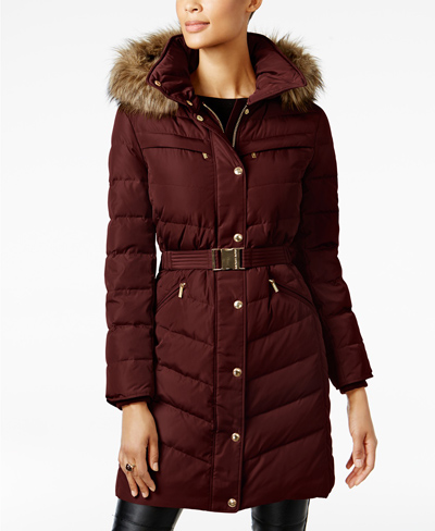 burgundy puffer coat michael kors