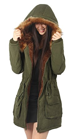 green fur lined parka amazon