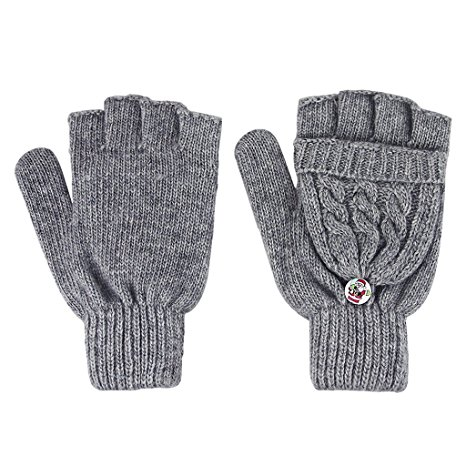 grey fold over mittens
