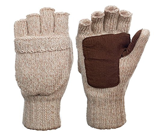 tan insulated fold over mittens