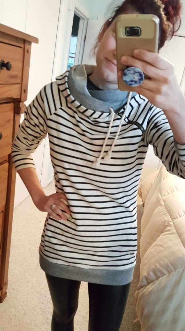 striped tunic hoodie | cute lounge clothes for moms