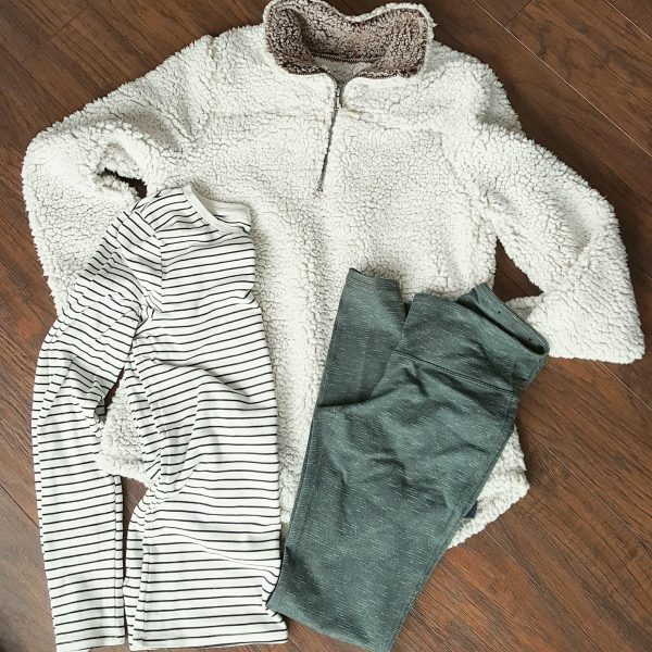 Sherpa Pullover and Leggings | cute lounge outfits for moms