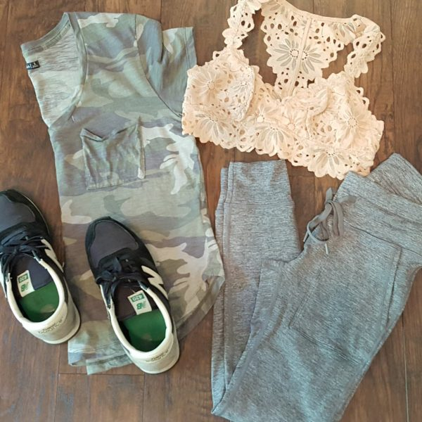 camo tee, bralette, loggers | cute lounge outfits for moms