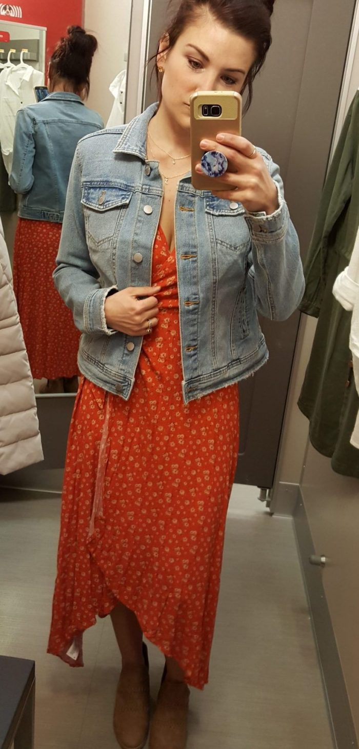 my new favorite clothing brand you have to try | universal thread red dress light denim jacket