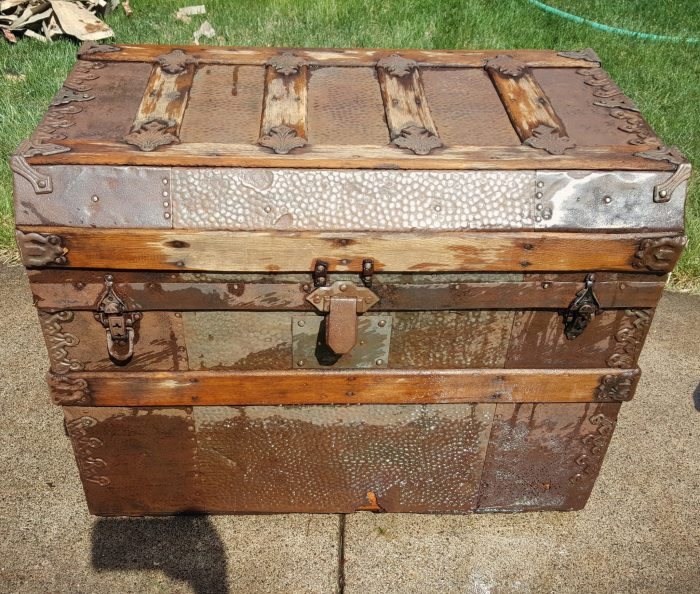 Antique Steamer Trunk cleaned up and wet