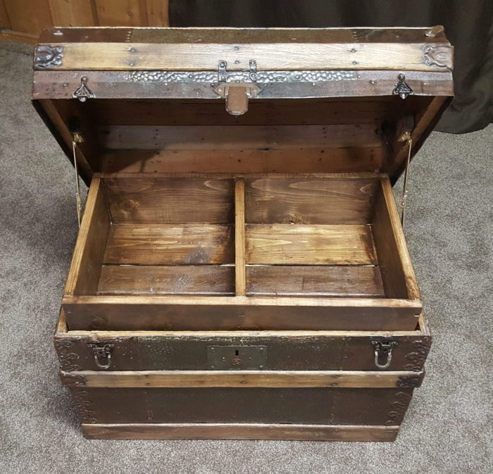 DIY Toy Box Treasure Chest from Antique Steamer Trunk inside