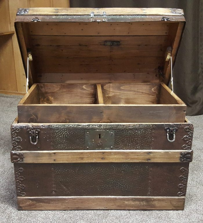 DIY Toy Box Treasure Chest from Antique Steamer Trunk open
