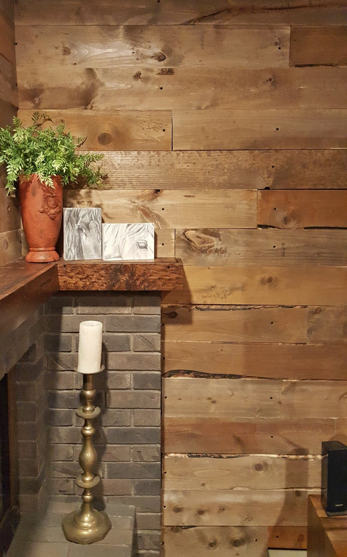 After - DIY barnwood wall close up