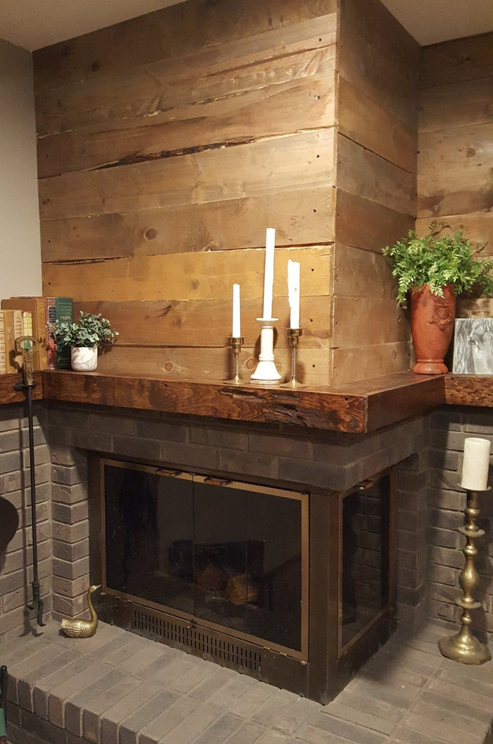 After - DIY barnwood wall fireplace