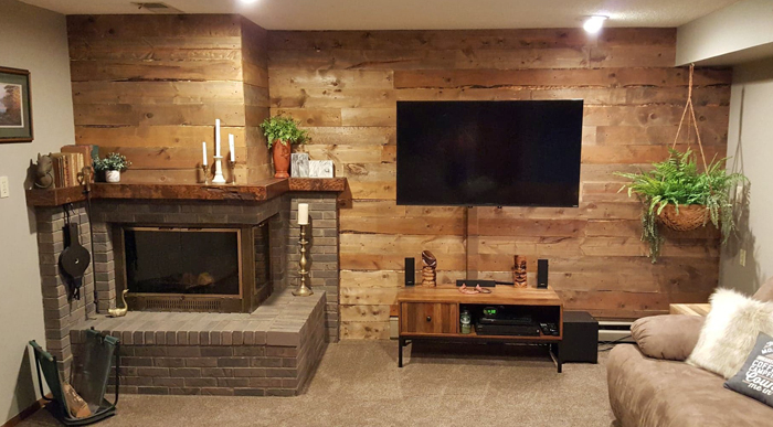 After - DIY barnwood wall