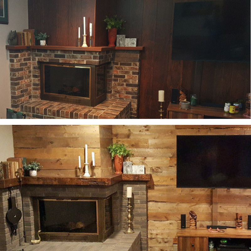 DIY barnwood wall before and after