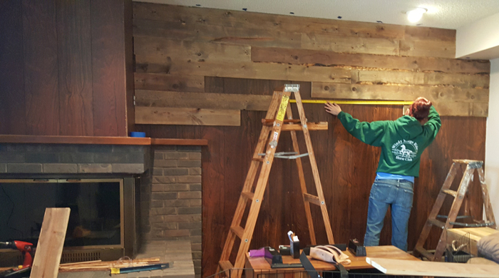 Fill in boards - DIY barnwood wall