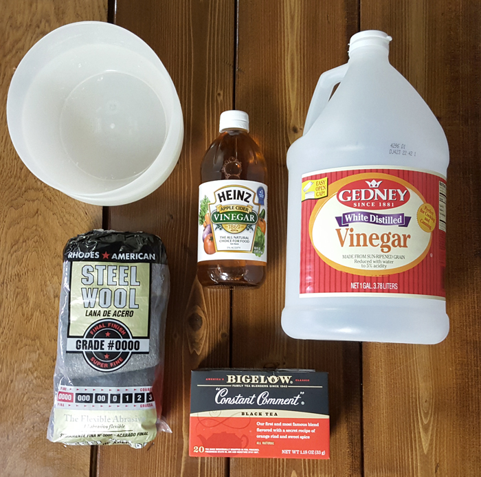Homemade wood stain supplies