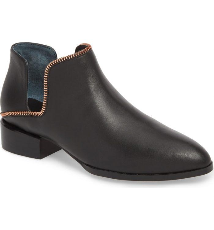 black zipper bootie