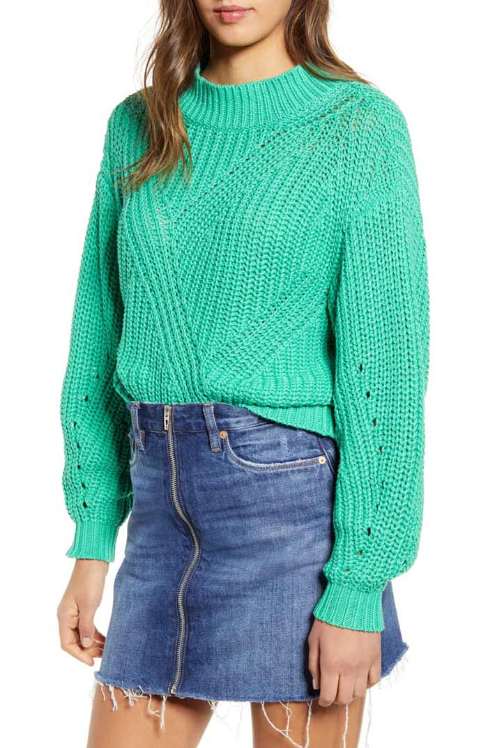 bright green sweater