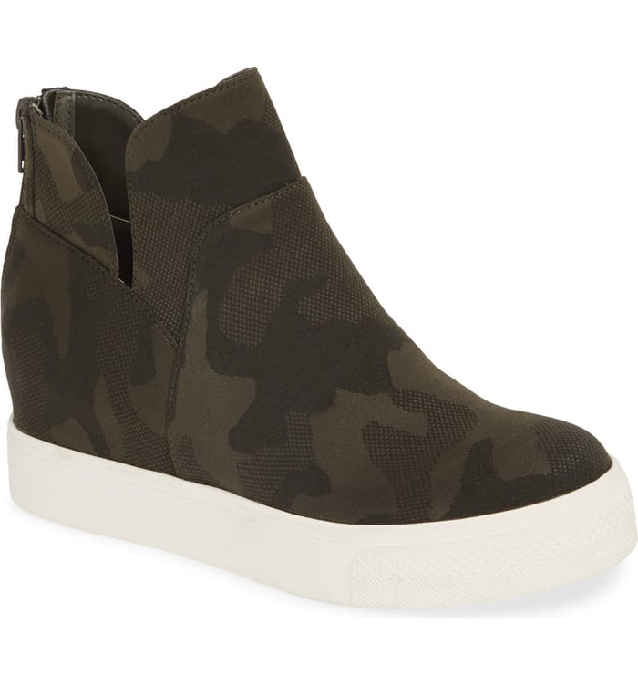camo wedge bootie