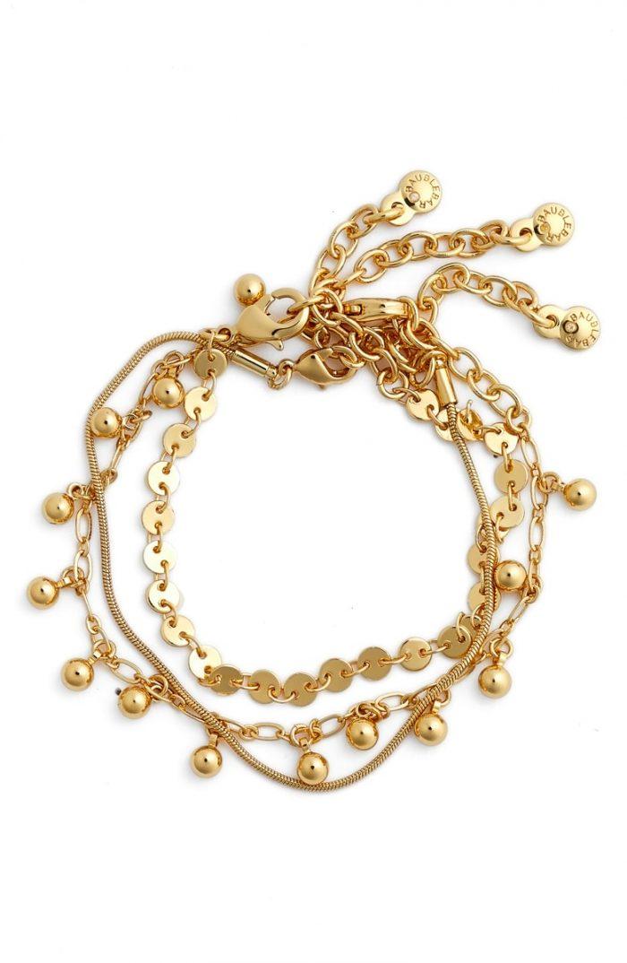 gold 3 bracelet set
