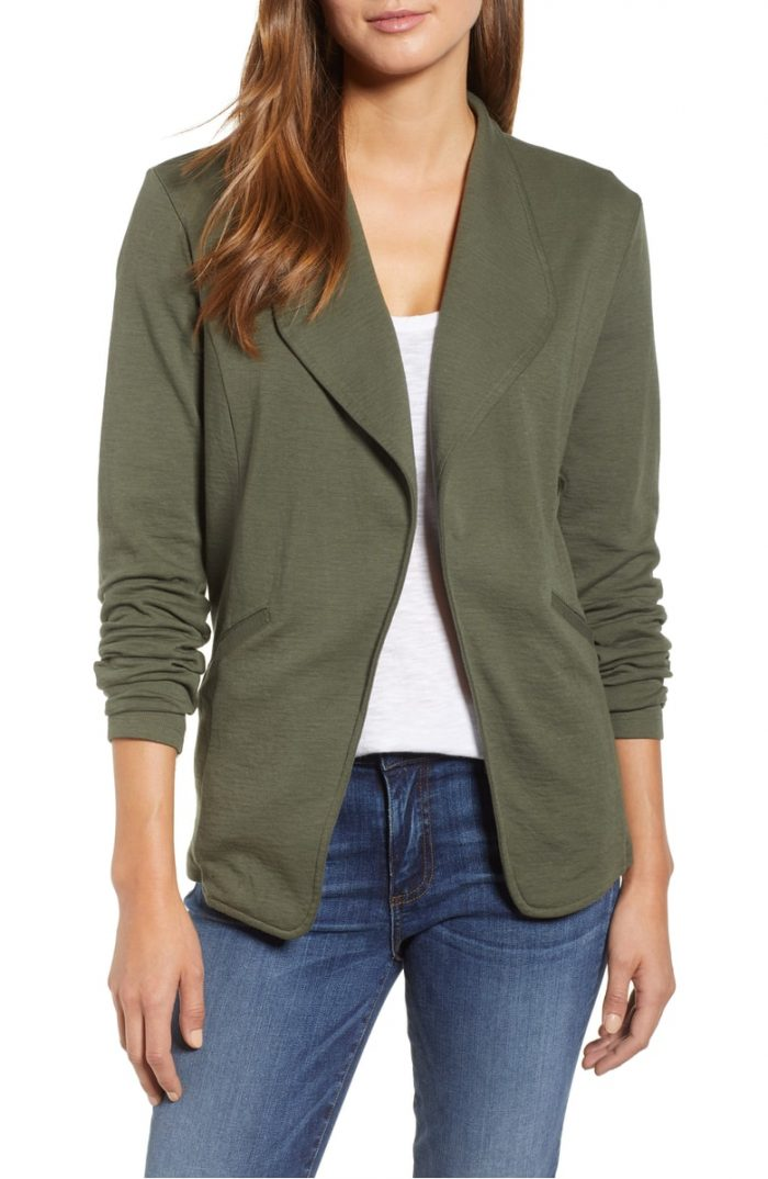 green knit blazer