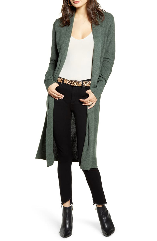 green longline cardigan