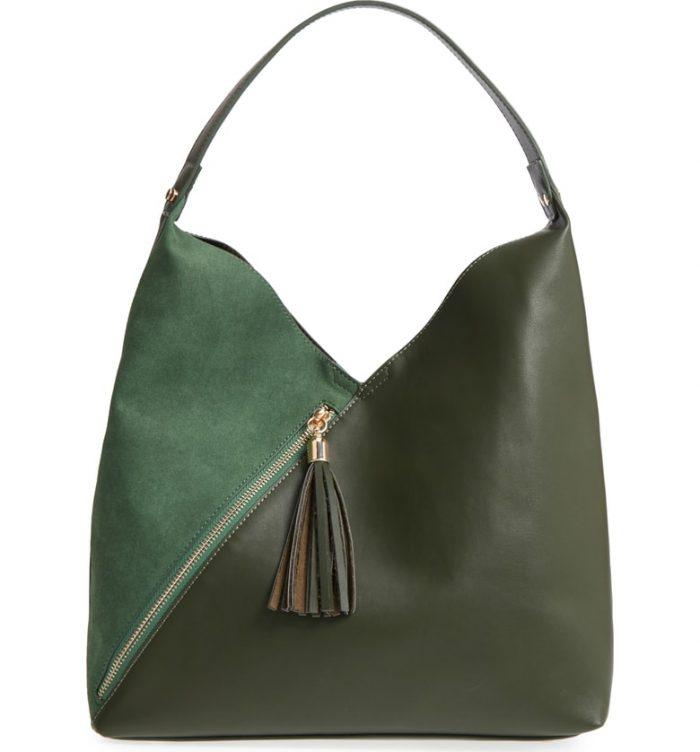 green zip tote handbag
