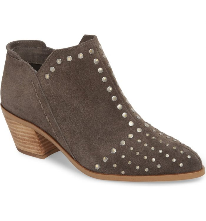 grey suede studded bootie