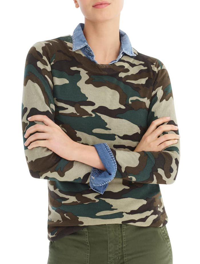 jcrew camo sweater