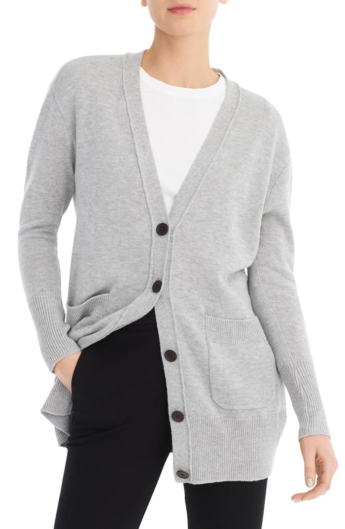 jcrew grey long cardigan