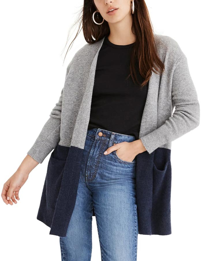 madewell ryder color block cardigan