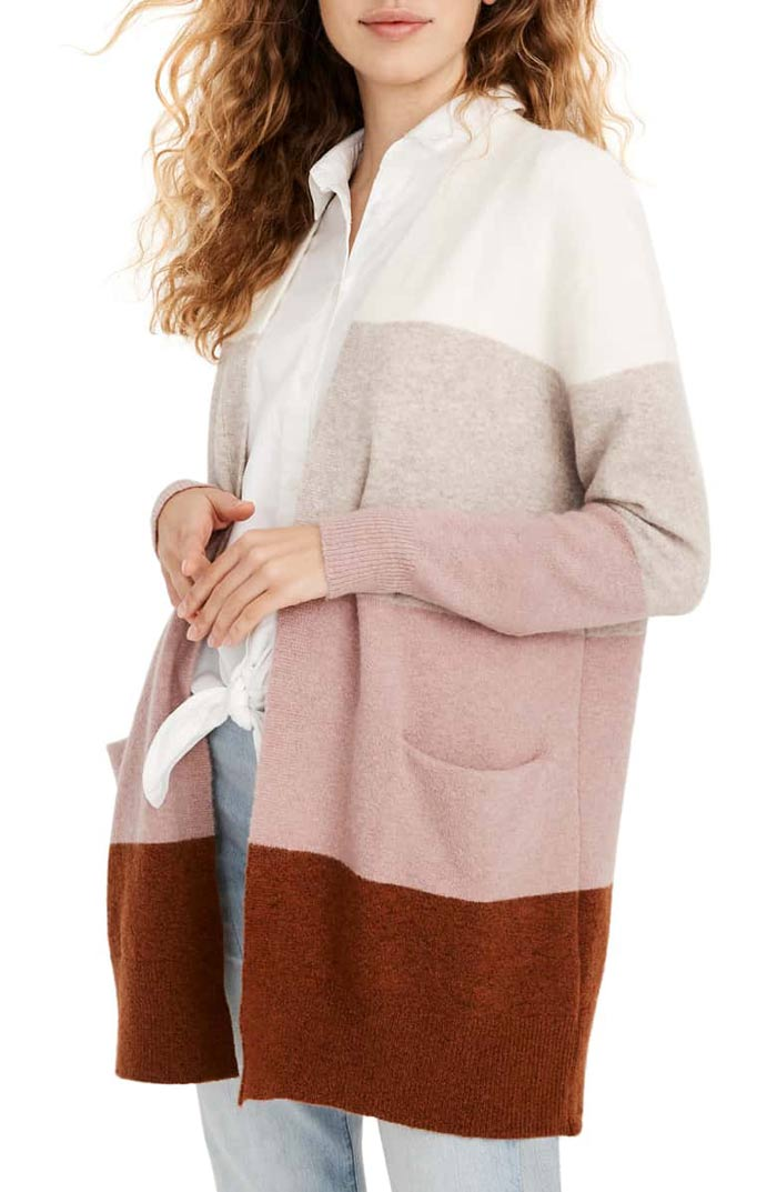 madewell ryder striped cardigan