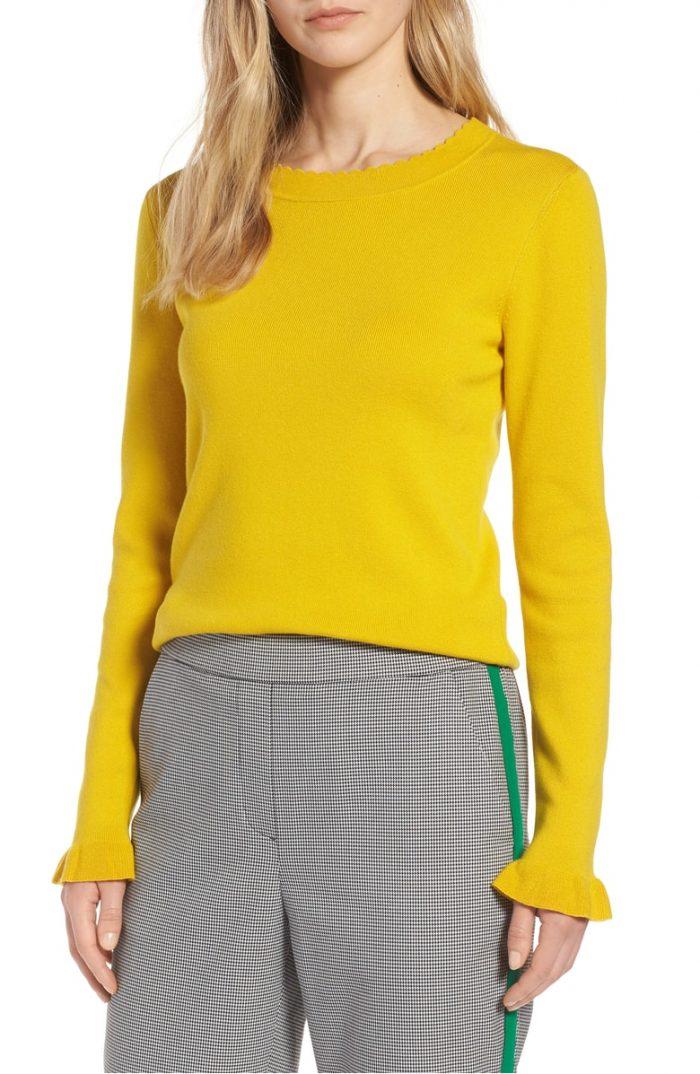 ruffle cuff yellow sweater