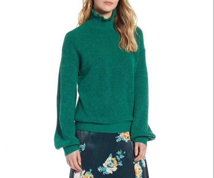 ruffle neck sweater green