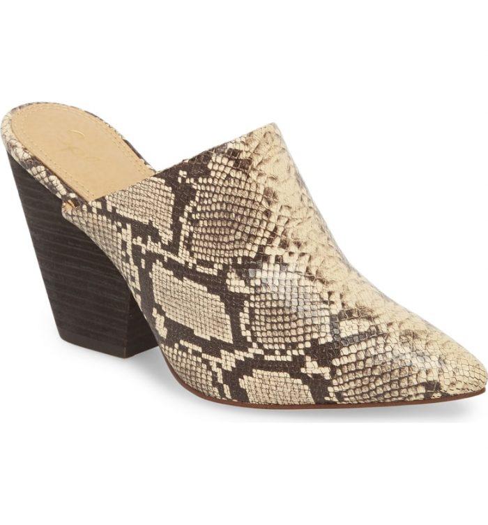 snake print heeled mule