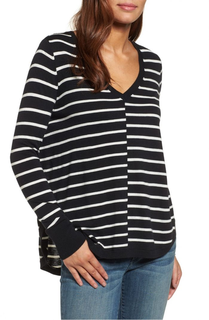 striped loose vneck sweater