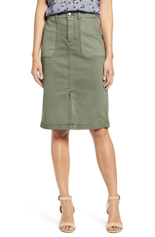 twill cargo green skirt