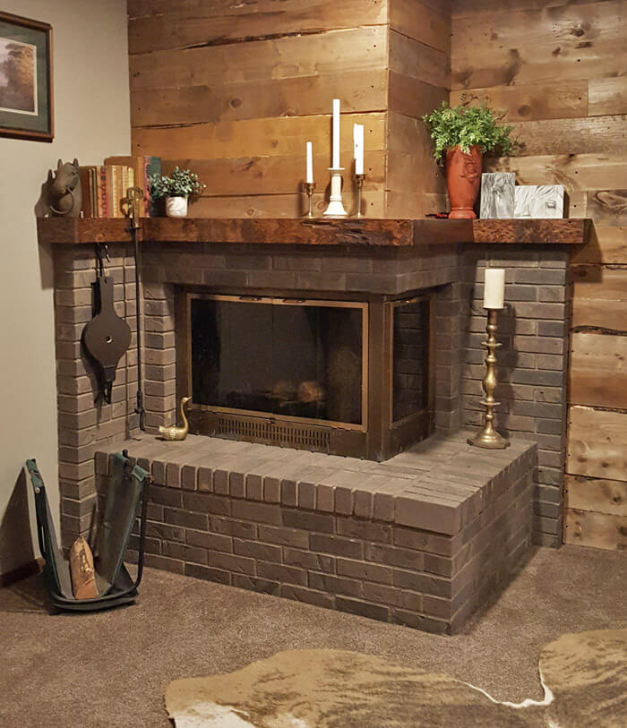 grey wash brick fireplace