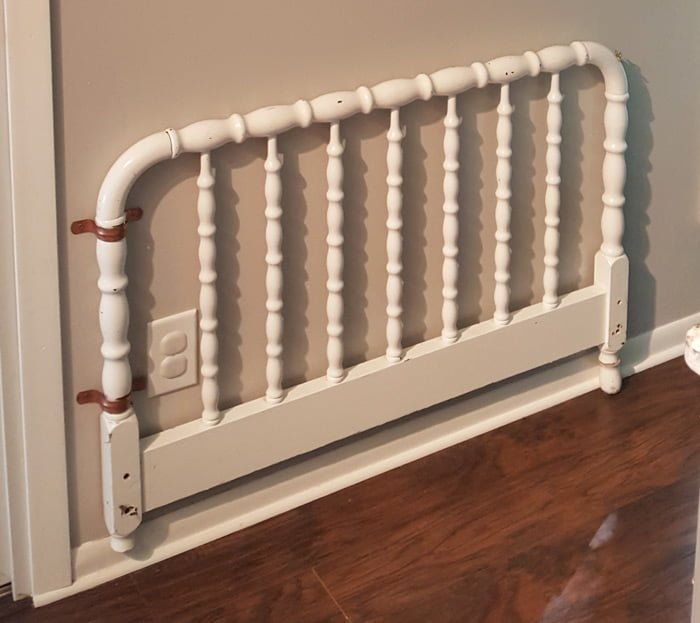diy decorative baby gate from vintage headboard