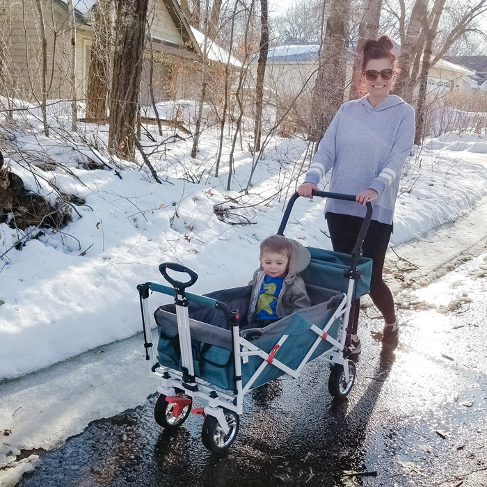 mom and toddler push wagon stroller